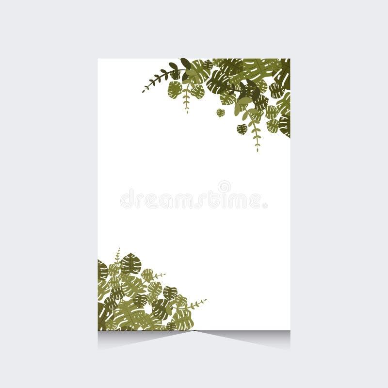 Épouser l'invitation avec le cadre tropical de feuille illustration stock