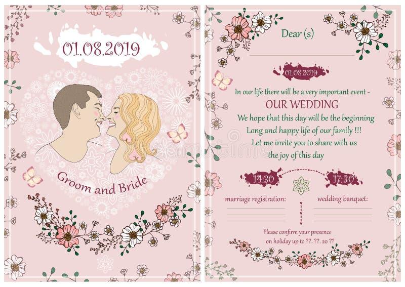 Épouser l'invitation dans la couleur rose avec un portrait des jeunes mariés photos stock