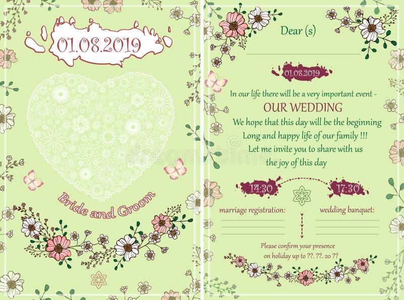 Épouser l'invitation dans la couleur verte et rose photographie stock