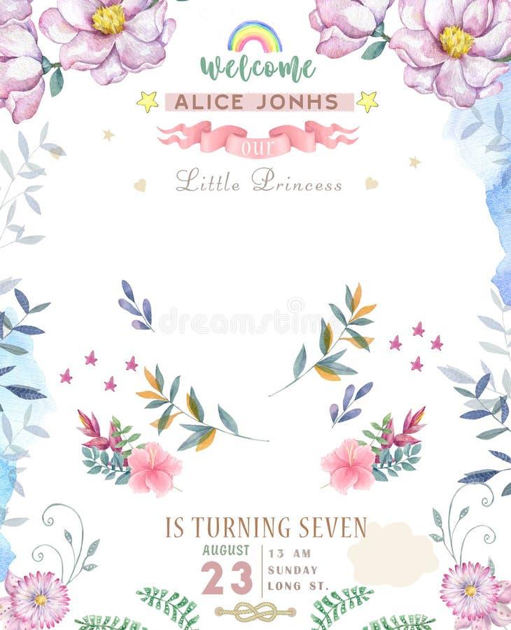 Épouser l'invitation ou la carte avec le fond floral rose Carte postale de salutation Modèle d'élégance avec l'illustration de fl illustration de vecteur