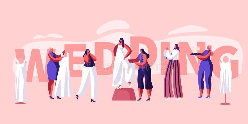 Épouser la bannière de typographie de préparation Ajustement de jeune mariée sur l'affiche blanche de robe Prise Champagne Bottle illustration stock