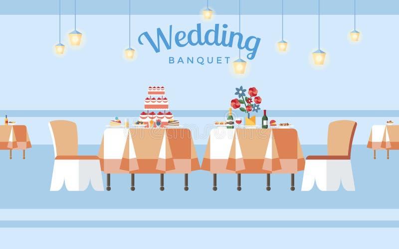 Épouser le banquet Hall Flat Vector Illustration illustration stock