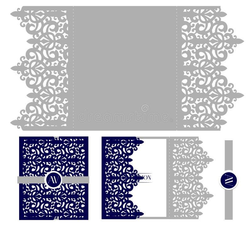 Épouser le calibre élégant d'emballage de carte d'invitation Maquette pour la coupe de laser Enveloppe royale de vecteur illustration libre de droits