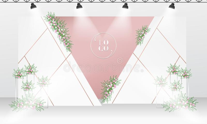 Épouser le calibre de conception de contexte avec la couleur blanche et rose d'or illustration stock