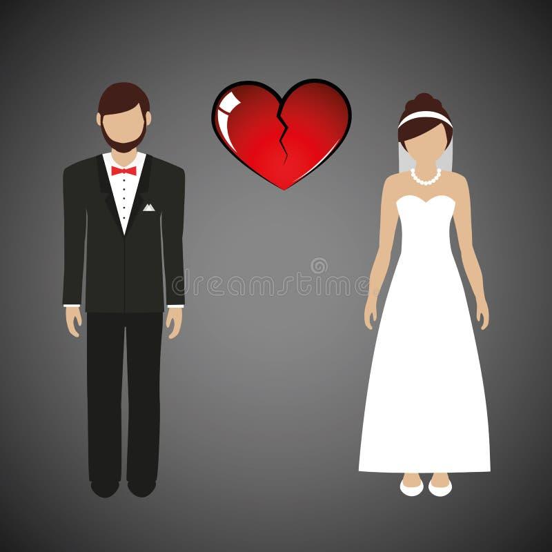 Épouser le coeur brisé distinct d'homme et de femme de couples illustration libre de droits