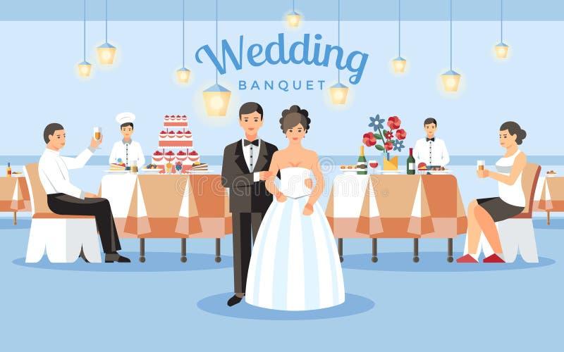 Épouser le concept de banquet Illustration plate de vecteur illustration de vecteur