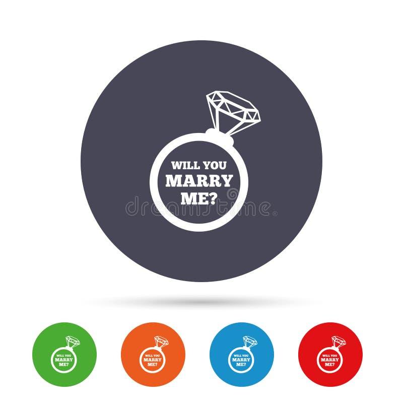 Épousez-moi icône de signe d'anneau Symbole d'engagement illustration libre de droits