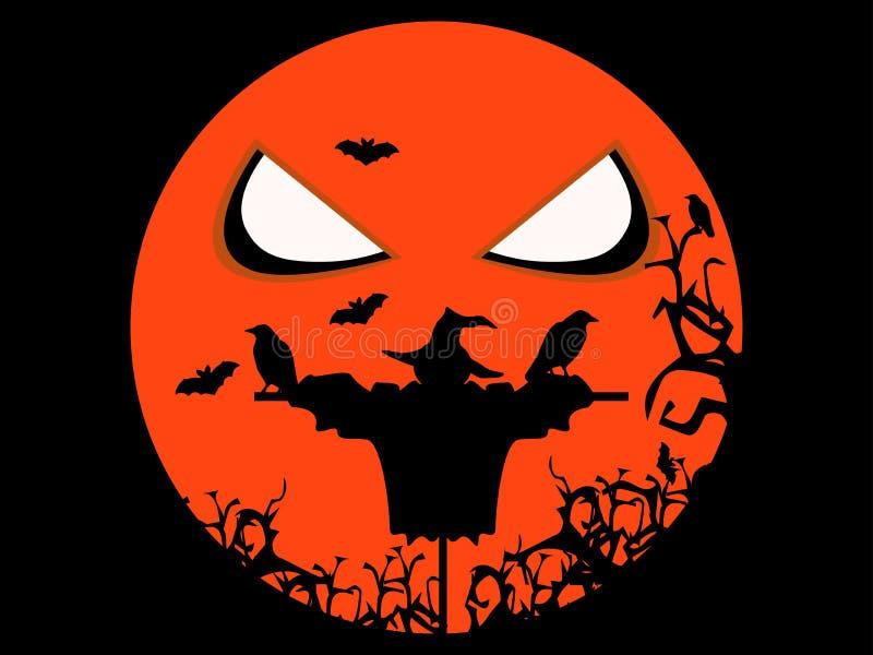 Épouvantail, corbeaux et battes effrayants de Halloween Illustration pour des vacances de Veille de la toussaint illustration libre de droits