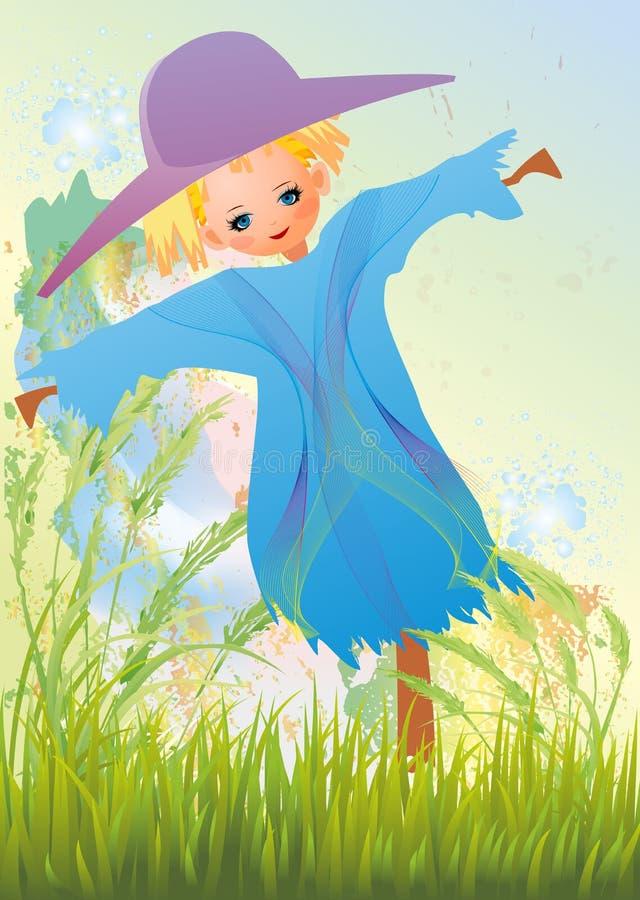 Épouvantail dans l'herbe illustration stock