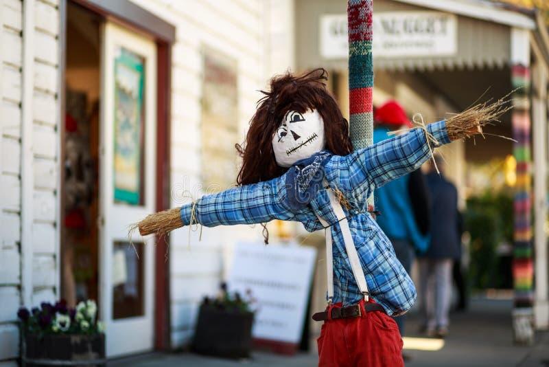 Épouvantail heureux dans Arrowtown images stock