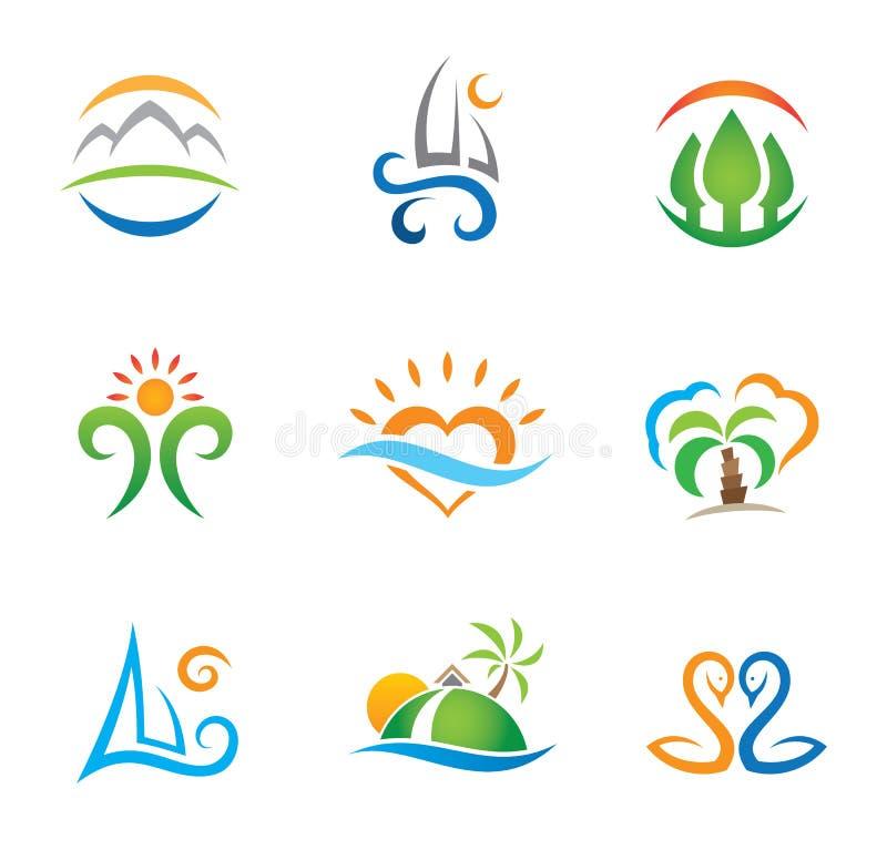 Éprouvez le paradis de voyage et vivez calibre gratuit de logo illustration libre de droits