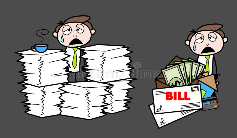 Épuisé avec la charge de travail et l'homme d'affaires professionnel de bande dessinée de factures illustration stock