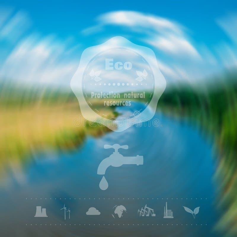 Épuisement environnemental de production de pétrole d'icônes des ressources et d'autre en eau Design de l'interface de Web Protec illustration de vecteur