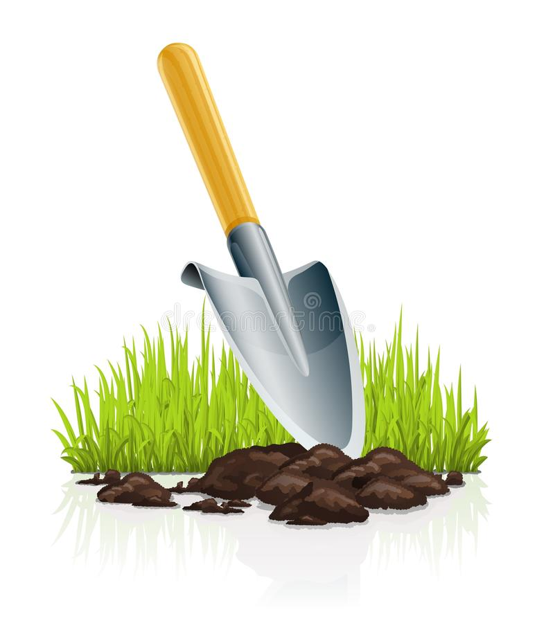 Épuisette et herbe de jardin illustration stock