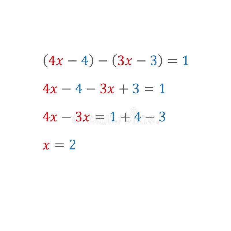 Équation algébrique avec un nombres entiers variables de nombres positifs et négatifs illustration de vecteur
