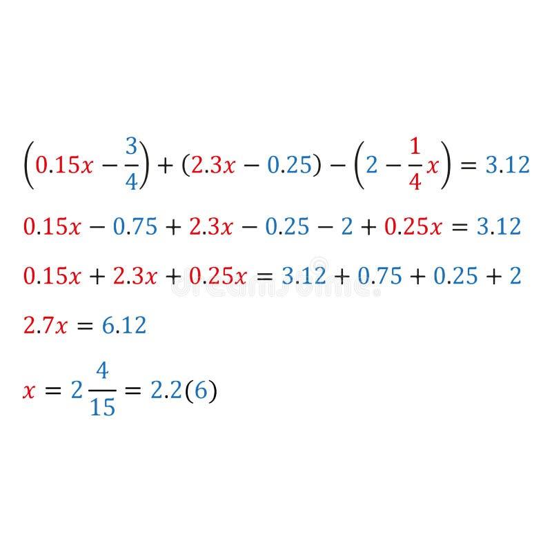 Équation algébrique avec une variable Fractions simples de nombres naturels et fractions décimales de fractions mélangées illustration stock