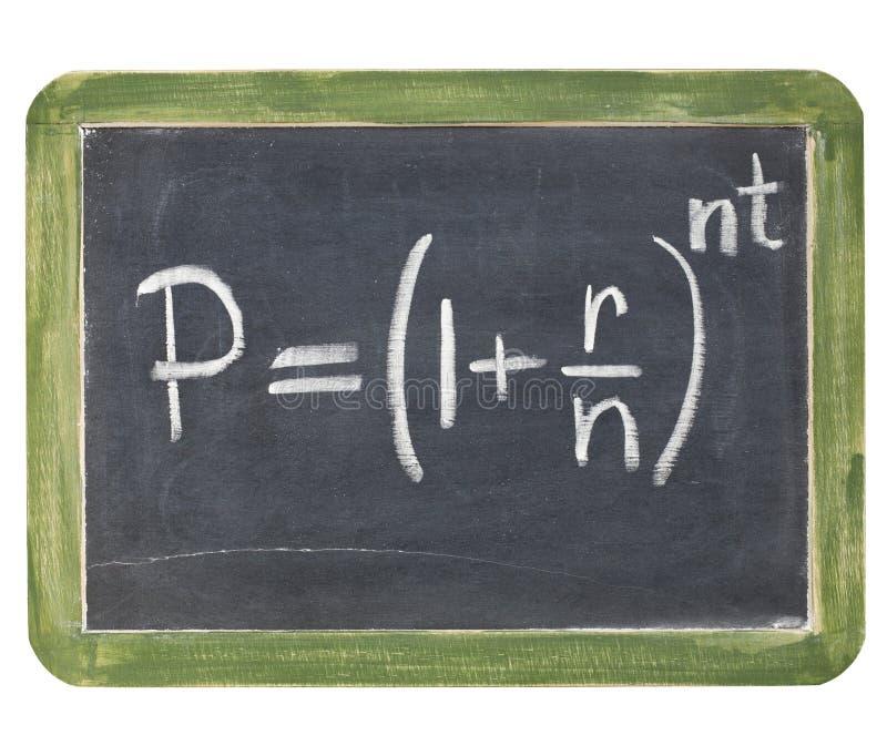 Équation d'intérêt composé photographie stock libre de droits