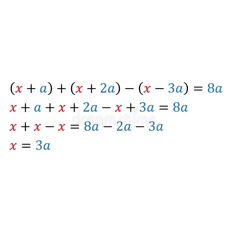 Équation paramétrique algébrique avec une variable Nombres positifs et négatifs illustration libre de droits