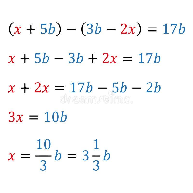 Équation paramétrique algébrique avec une variable Nombres positifs et négatifs Nombres de nombre entier Fractions et mélangé illustration de vecteur