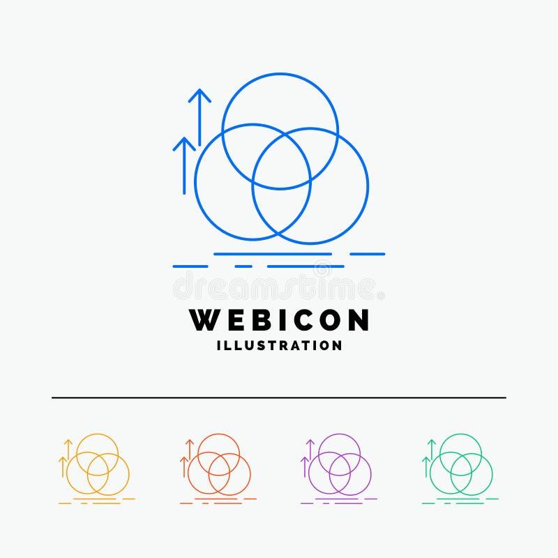 équilibre, cercle, alignement, mesure, discrimination raciale de la géométrie 5 calibre d'icône de Web d'isolement sur le blanc I illustration libre de droits