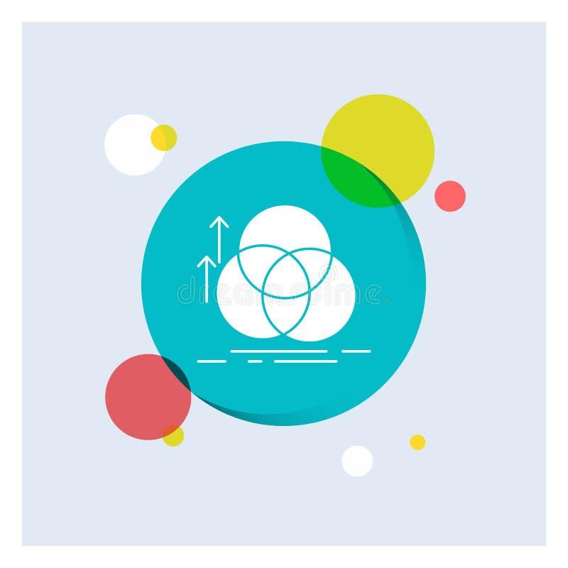 équilibre, cercle, alignement, mesure, fond coloré de cercle d'icône blanche de Glyph de la géométrie illustration libre de droits