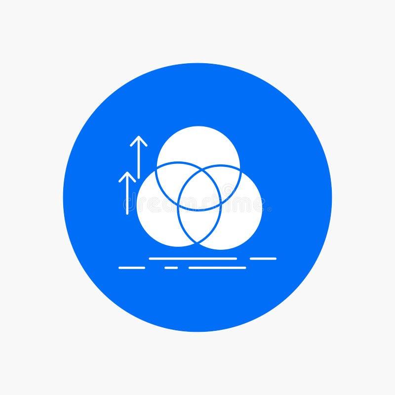 équilibre, cercle, alignement, mesure, icône blanche de Glyph de la géométrie en cercle Illustration de bouton de vecteur illustration stock