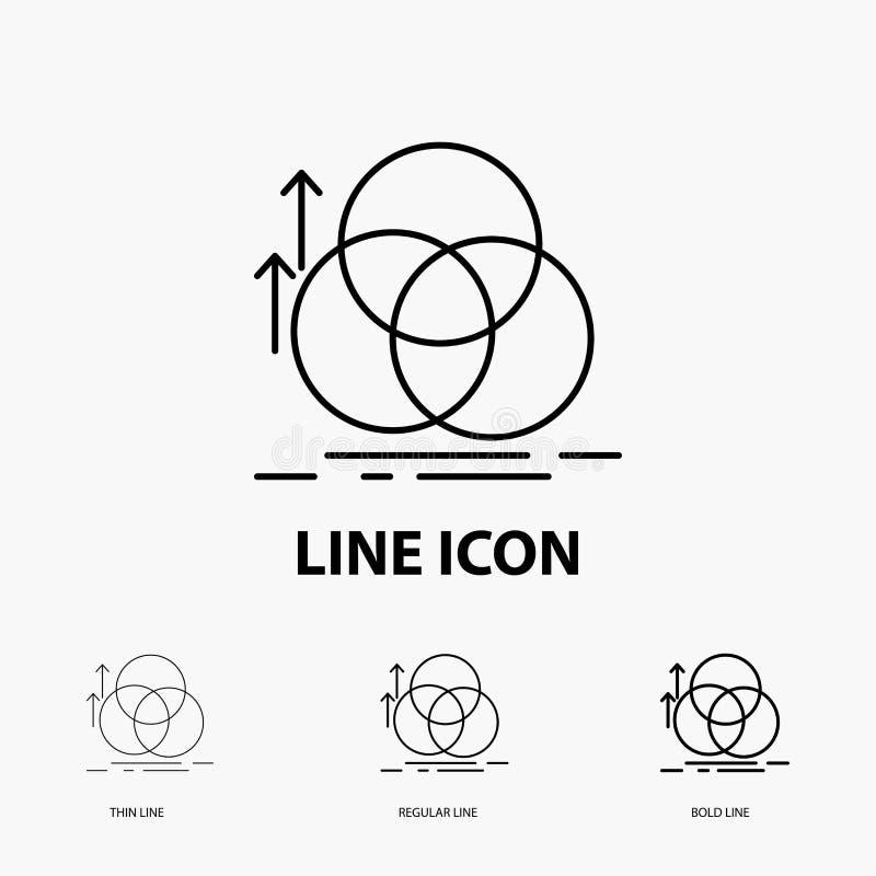 équilibre, cercle, alignement, mesure, icône de la géométrie dans la ligne style mince, régulière et audacieuse Illustration de v illustration stock