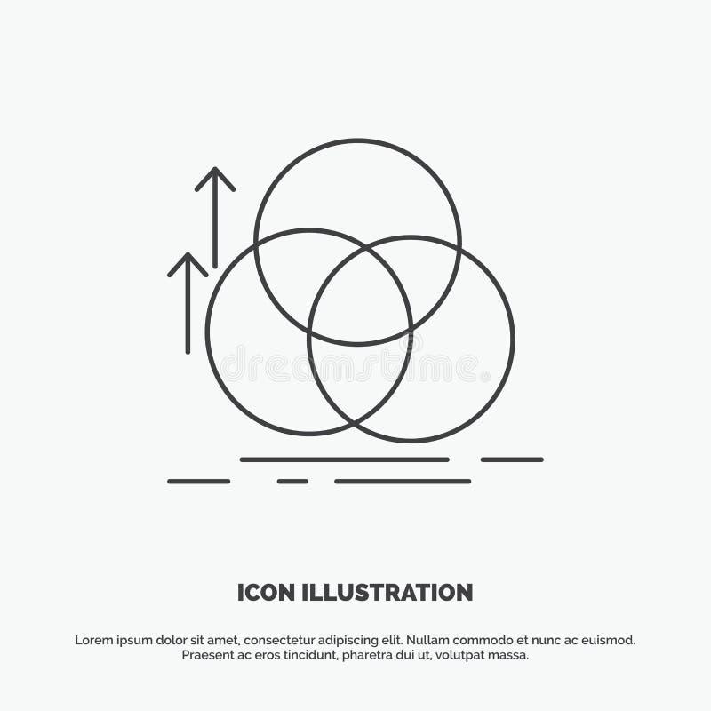 équilibre, cercle, alignement, mesure, icône de la géométrie r illustration stock