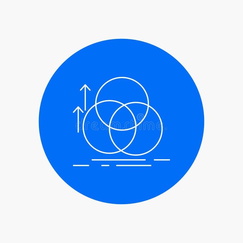 équilibre, cercle, alignement, mesure, ligne blanche icône de la géométrie à l'arrière-plan de cercle Illustration d'ic?ne de vec illustration de vecteur