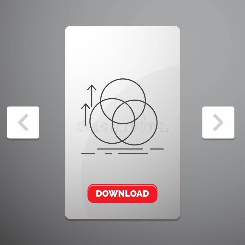 équilibre, cercle, alignement, mesure, ligne icône de la géométrie dans la conception de glisseur de paginations de beuverie et b illustration stock
