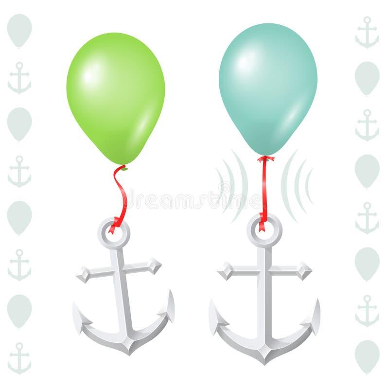 Équilibre conceptuel entre le ballon et l'ancre illustration de vecteur