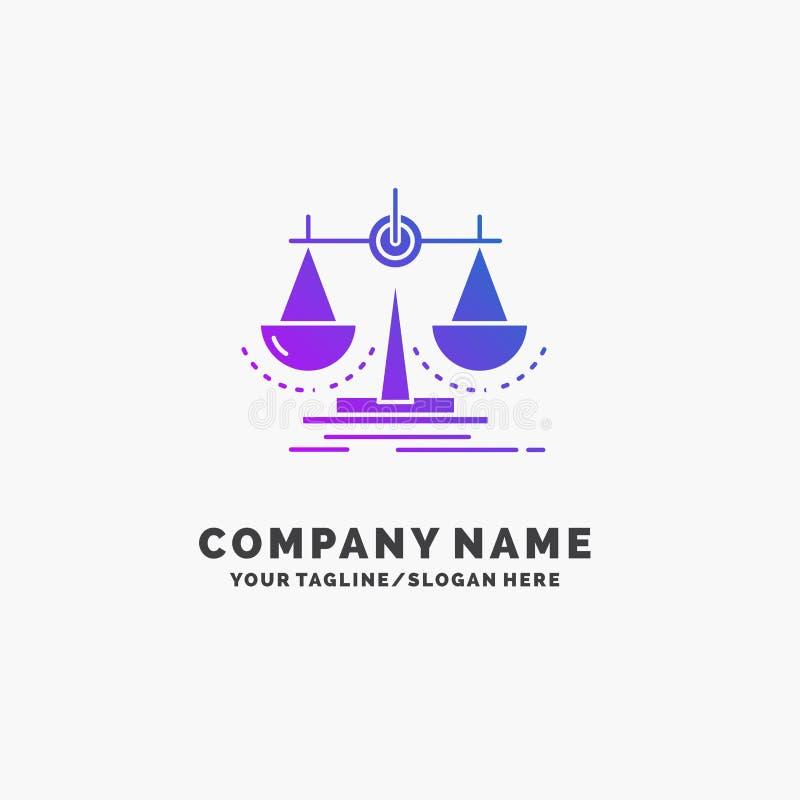 Équilibre, décision, justice, loi, affaires pourpres Logo Template d'échelle Endroit pour le Tagline illustration libre de droits