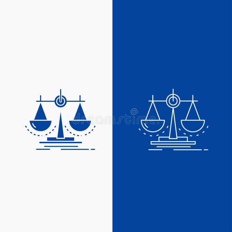 Équilibre, décision, justice, loi, bouton de Web de ligne d'échelle et de Glyph dans la bannière verticale de couleur bleue pour  illustration libre de droits