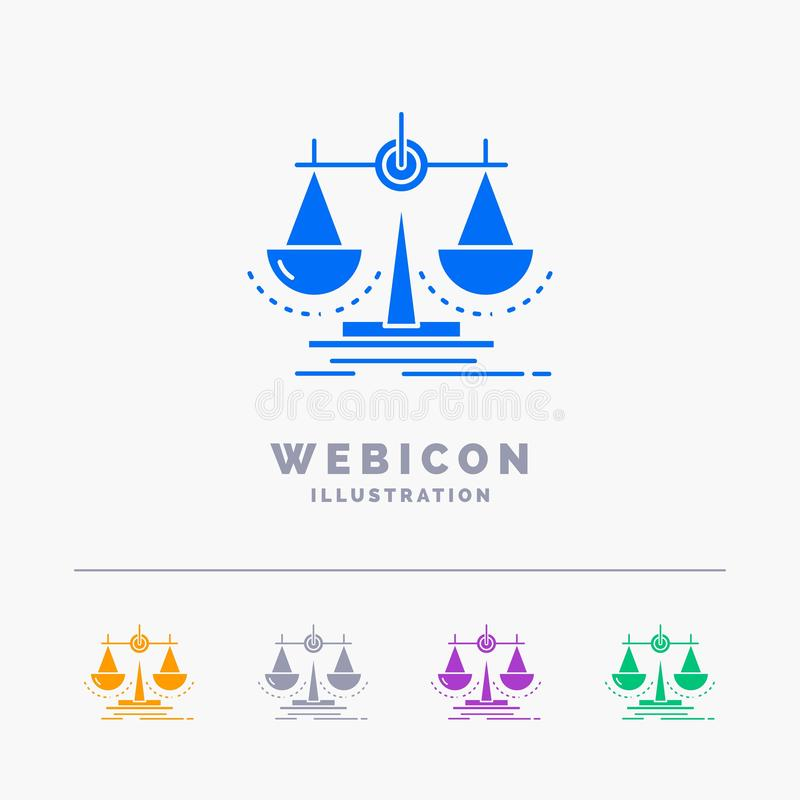 Équilibre, décision, justice, loi, calibre d'icône de Web de Glyph de couleur de l'échelle 5 d'isolement sur le blanc Illustratio illustration de vecteur