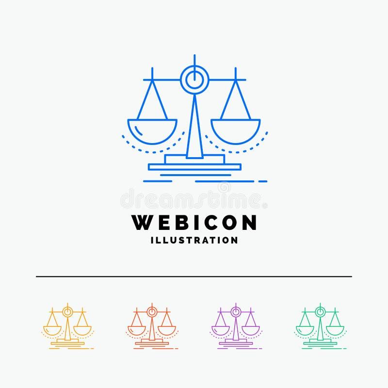 Équilibre, décision, justice, loi, discrimination raciale de l'échelle 5 calibre d'icône de Web d'isolement sur le blanc Illustra illustration de vecteur