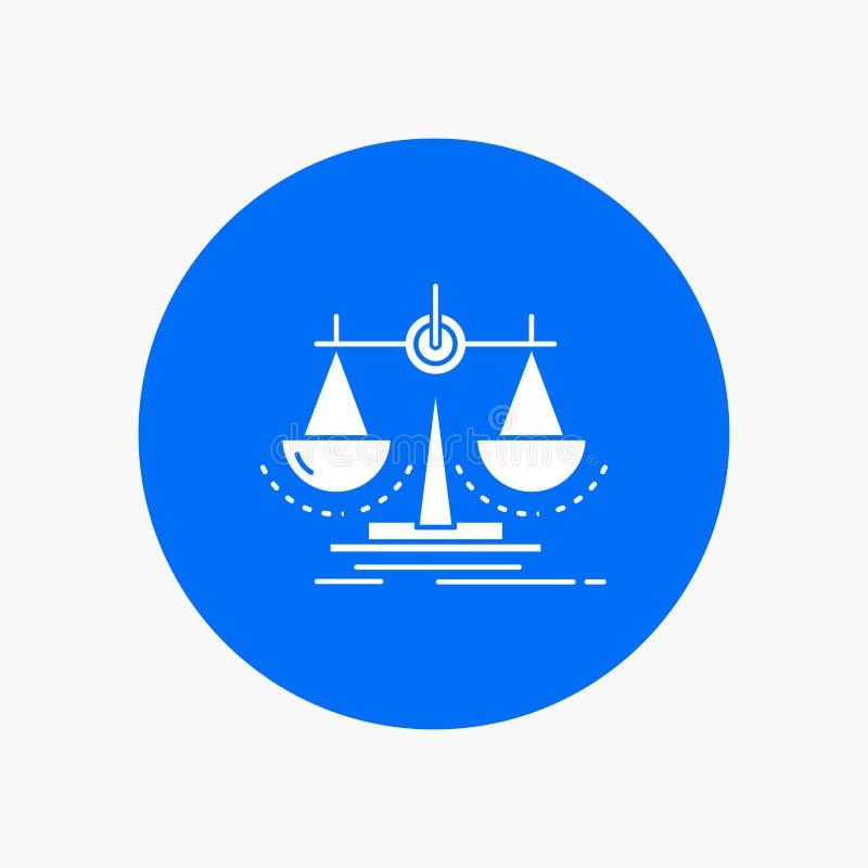 Équilibre, décision, justice, loi, icône blanche de Glyph d'échelle en cercle Illustration de bouton de vecteur illustration libre de droits