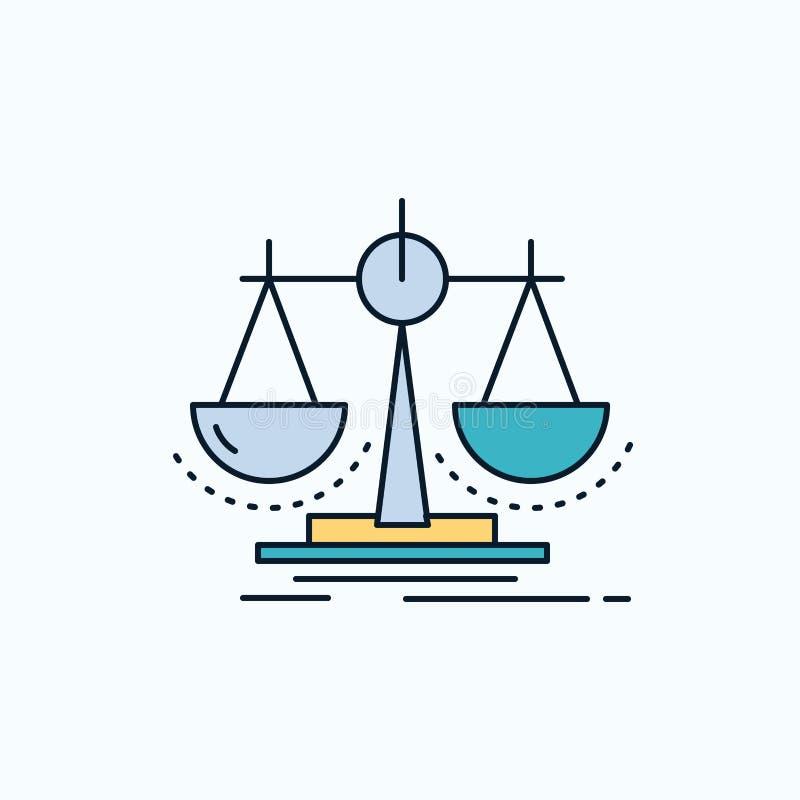 Équilibre, décision, justice, loi, icône plate d'échelle signe et symboles verts et jaunes pour le site Web et l'appliation mobil illustration stock