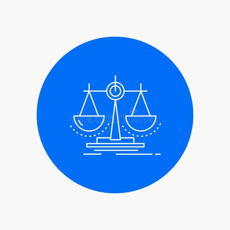 Équilibre, décision, justice, loi, ligne blanche icône d'échelle à l'arrière-plan de cercle Illustration d'ic?ne de vecteur illustration libre de droits