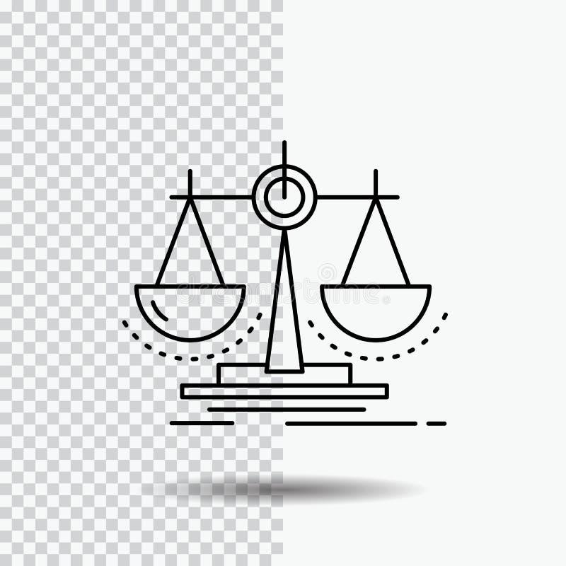 Équilibre, décision, justice, loi, ligne icône d'échelle sur le fond transparent Illustration noire de vecteur d'ic?ne illustration libre de droits