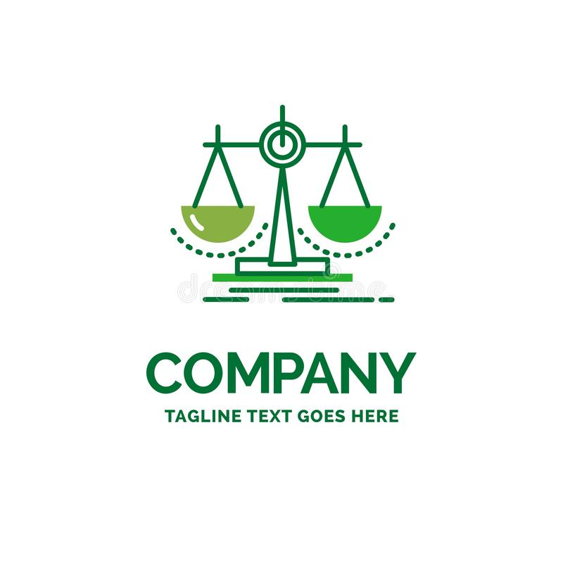Équilibre, décision, justice, loi, templa plat de logo d'affaires d'échelle illustration stock