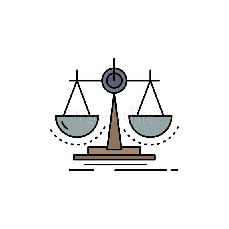 Équilibre, décision, justice, loi, vecteur plat d'icône de couleur d'échelle illustration libre de droits