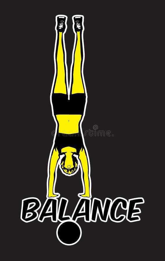Équilibre d'appui renversé sur l'illustration de boule illustration stock