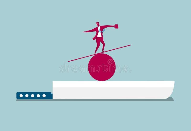 Équilibre d'homme d'affaires sur le couteau illustration de vecteur