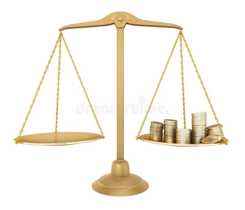 Équilibre d'or. Quelque chose égale avec de l'argent illustration libre de droits