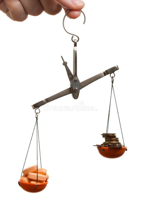 Équilibre de finances de médecine photographie stock libre de droits
