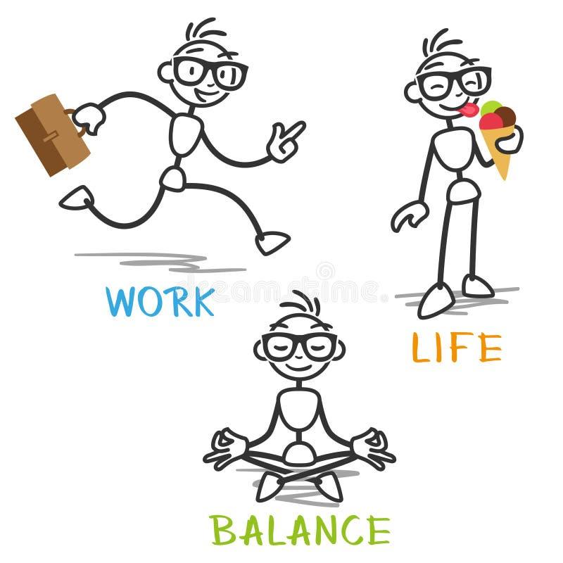 Équilibre de la vie de travail d'homme de bâton de vecteur illustration stock