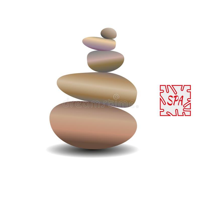 Équilibre de pierre de zen, image réaliste image 3D des pierres illustration libre de droits
