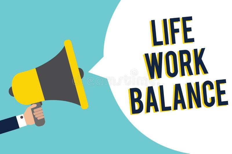 Équilibre de vie active des textes d'écriture de Word Le concept d'affaires pour la personne de stabilité a besoin entre le son t illustration libre de droits
