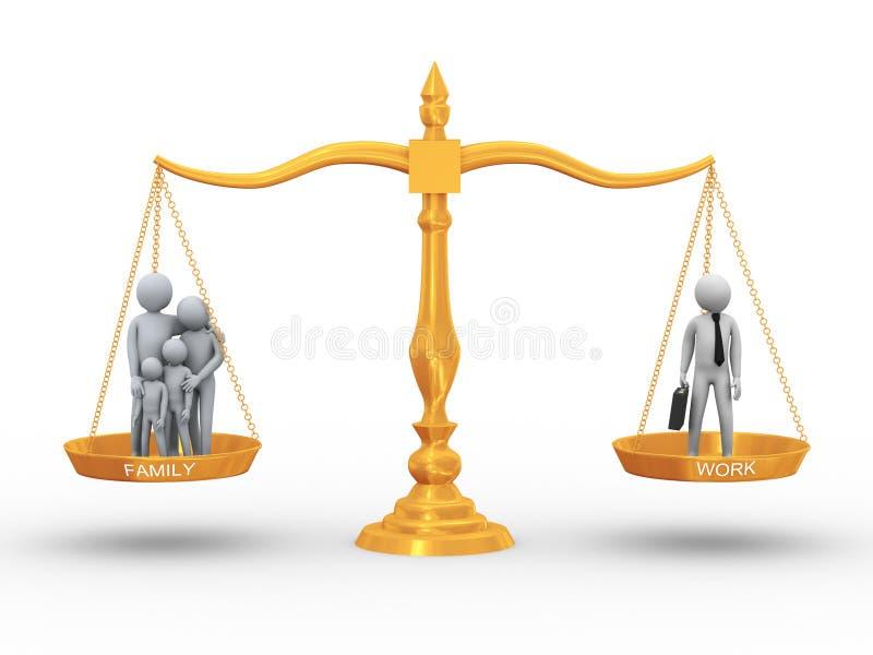Équilibre entre le famille et le travail illustration libre de droits