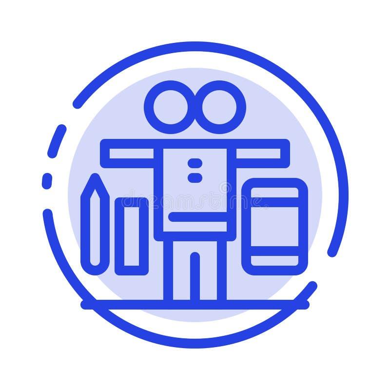 Équilibre, la vie, jeu, ligne pointillée bleue ligne icône de travail illustration stock